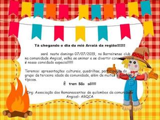 Você está convidado a participar do Mió arraia da região na comunidade Angical em Colônia do Piauí