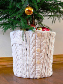 Altered Sweater for Christmas Tree Base
