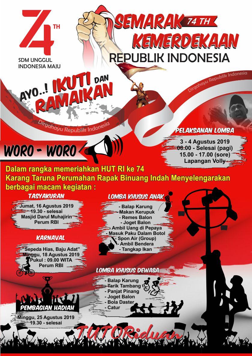 Pamflet Hut Ri : pamflet, Desain, Pamflet, Poster, Agustus, Dengan, Coreldraw, TUTORiduan.com