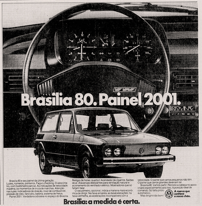 Propaganda antiga da Volkswagen promovendo a Brasilia em 1979