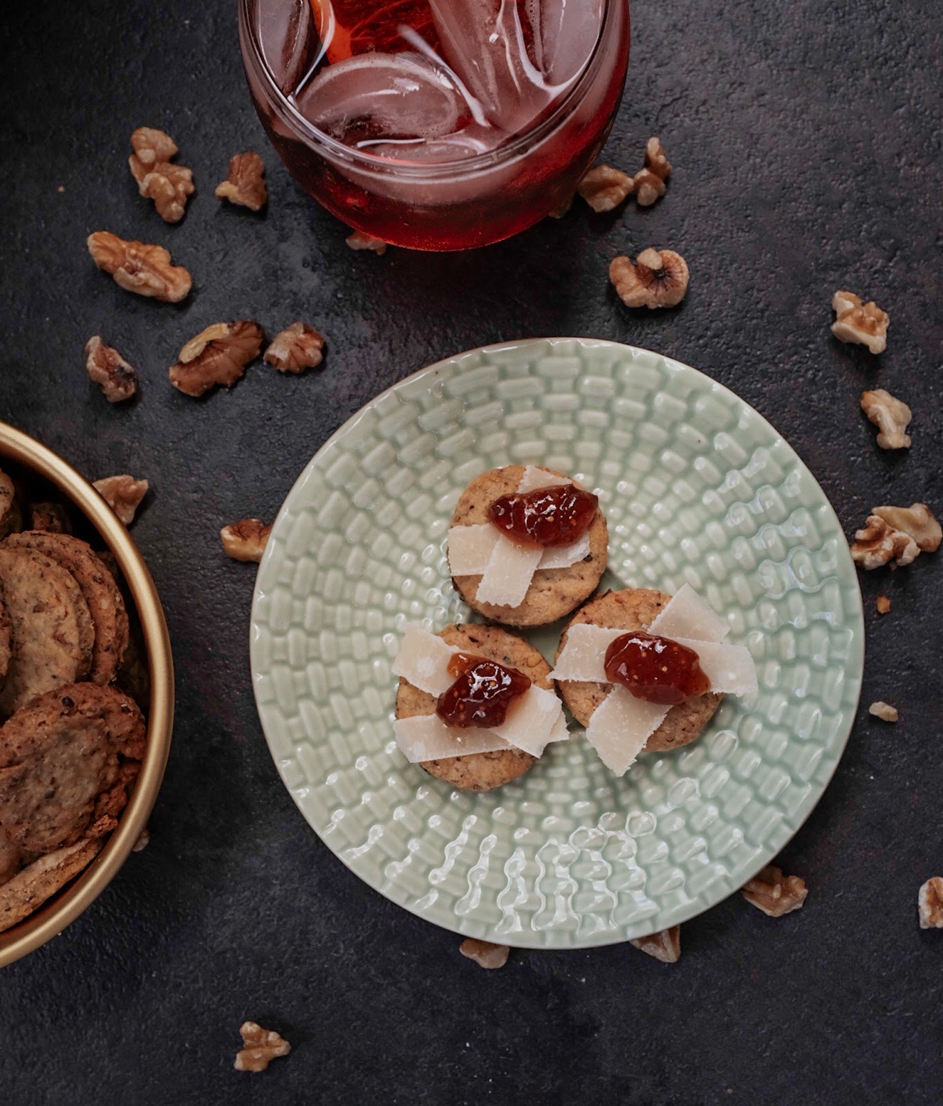 Rosemary Walnut Crackers topped with Parmesan and fig jam | Local Food Rocks