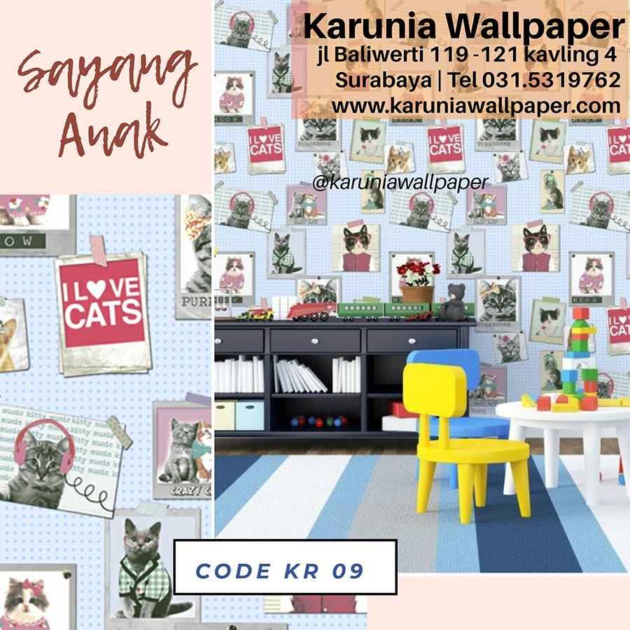 wallpaper dinding kamar anak motif kucing