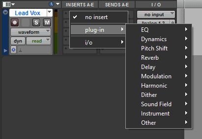Pro Tools plug-in insertion categories menu