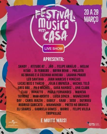 """Festival """"Música em Casa"""" traz shows intimistas ao vivo pela web e incentivam o público a curtir música em suas residências"""