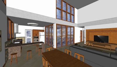 Cozinha e salas favorecidas pela iluminação natural e ventilação cruzada.