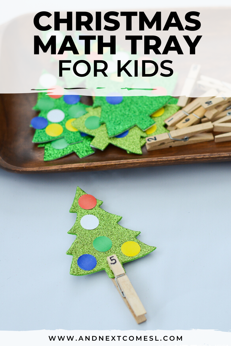 Christmas math activity tray - an easy Christmas counting activity for toddlers, preschool, or kindergarten