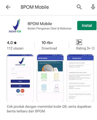 Aplikasi BPOM Mobile bisa diunduh melalui Google Play Store