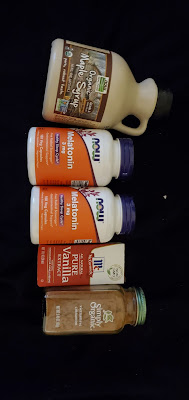 Our iHerb order with maple syrup, cinnamon, and melatonin