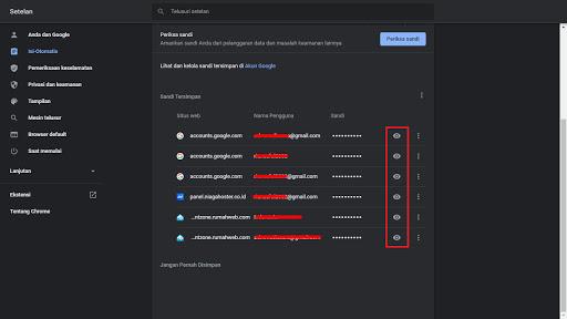 Melihat password gmail di Google Chrome