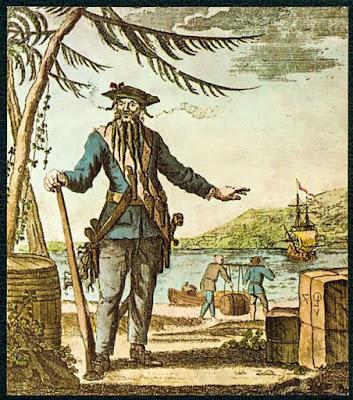 "Capt. Teach alias BarbaNera ""stampa colorata, incisa su rame, Oliver Payne 1736"
