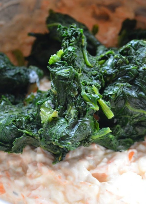Add spinach to dip mix.