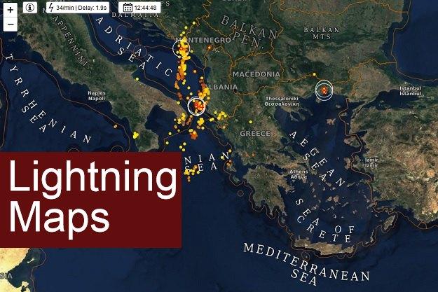 χάρτης με πληροφορίες για κεραυνούς σε πραγματικό χρόνο