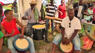 Groupe de Bèlè en Martinique avec tambour