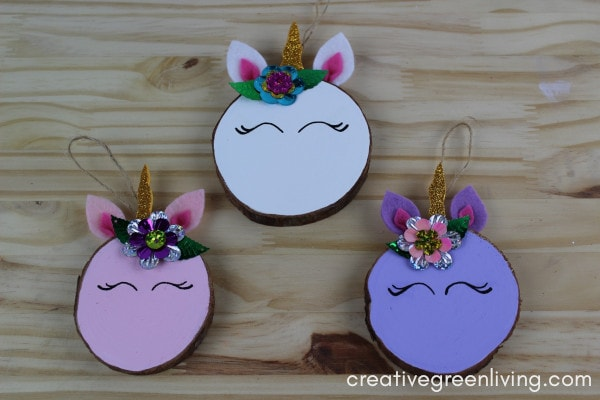 How to Make a Unicorn Christmas Ornament tutorial #dollarstorecrafts #creativegreenliving #unicorncrafts