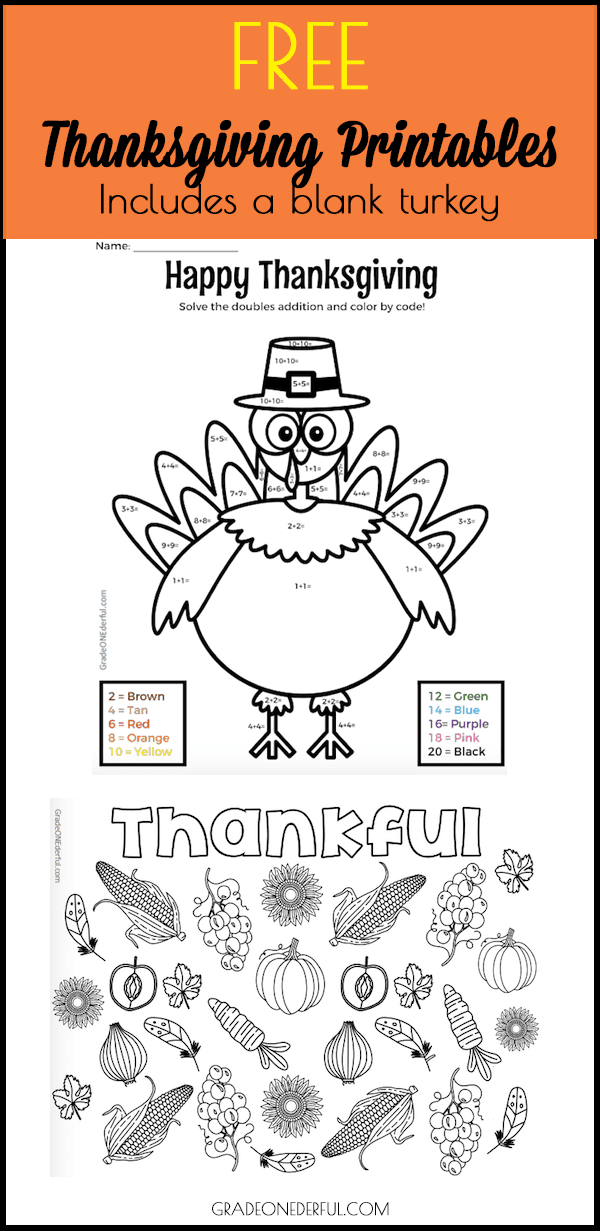 Color by Number Turkey: Doubles Addition. Free printables for Thanksgiving. Includes a coloring page of a turkey and a harvest theme.