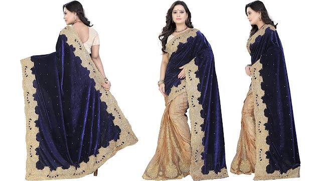 Kataria Fashion Embroidered Fashion Velvet, Net Saree  (Beige, Blue)
