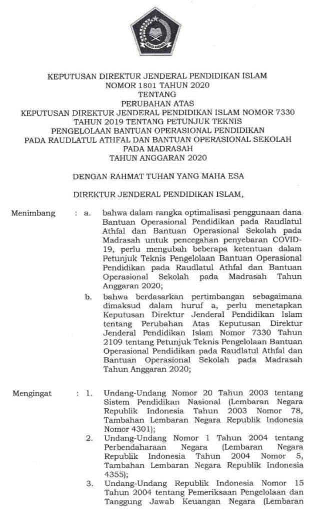 Juknis BOS Perubahan Tahun 2020 untuk RA dan Madrasah (MI, MTs dan MA)