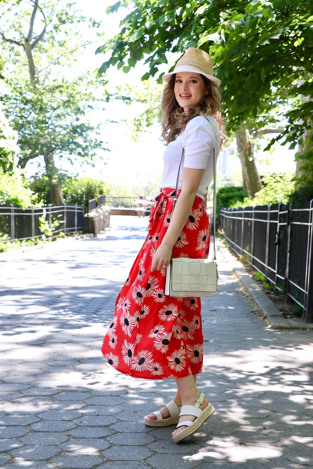 Nyc fashion blogger Kathleen Harper wearing a floral red midi skirt from Anthropologie.