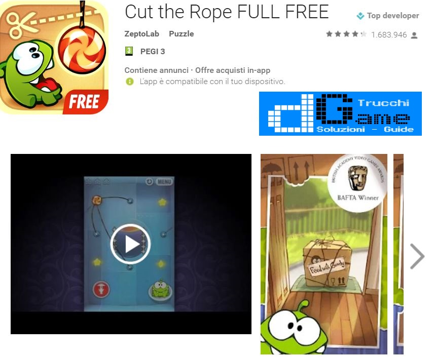 Soluzioni Cut the Rope FULL FREE di tutti i livelli | Walkthrough guide