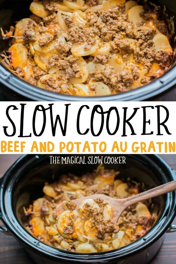 Slow Cooker Beef And Potatoes Au Gratin