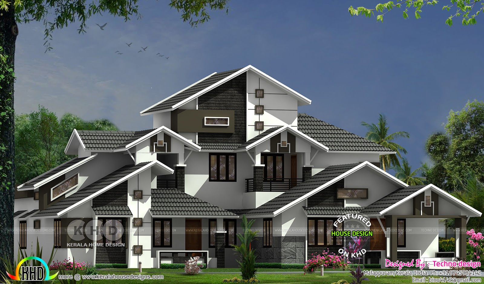 Sloping roof style wide home plan kerala home design and for Sloping home designs