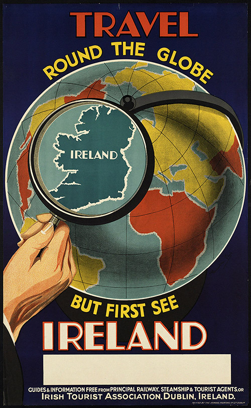 Travel Round the Globe, See Ireland First - Vintage Travel Poster, classic posters, free download, free posters, free printable, graphic design, printables, retro prints, travel, travel posters, vintage, vintage posters, vintage printables, vintage travel posters