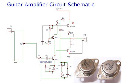 Guitar power amplifier circuit schematic