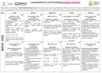 CALENDARIO DE ACTIVIDADES MAYO - JUNIO