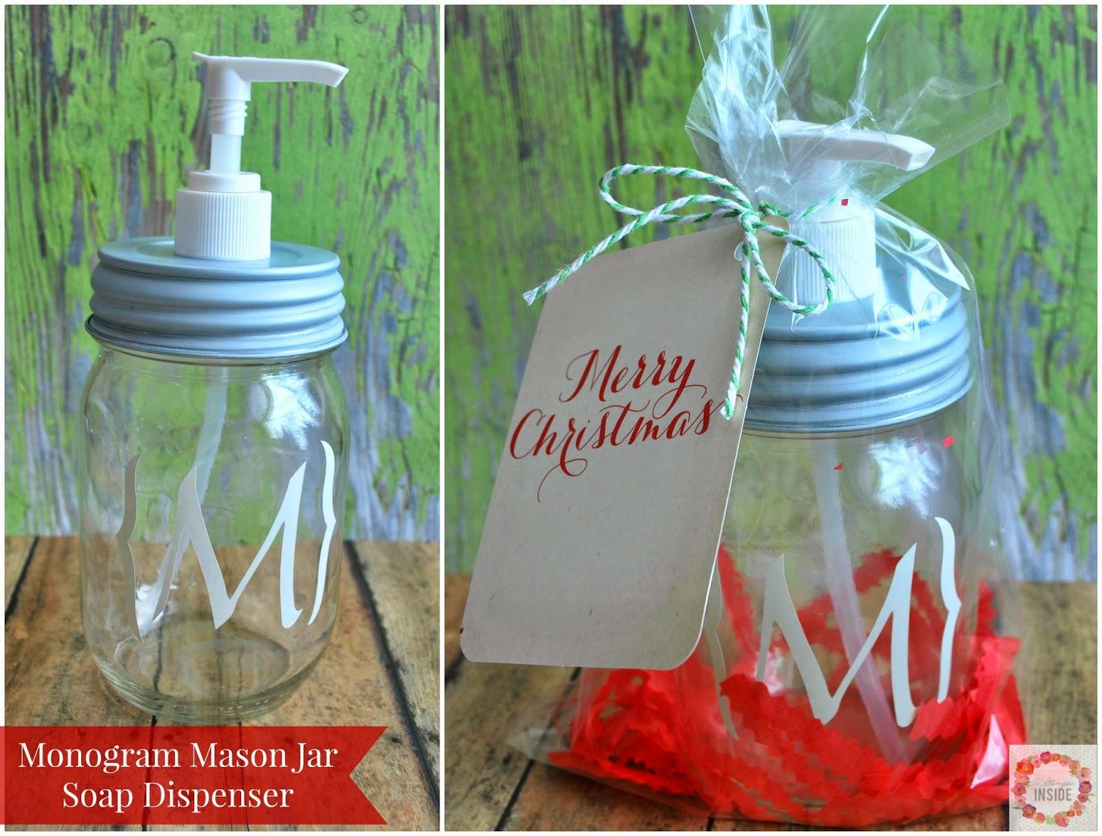 monogram mason jar soap dispenser easy gift idea a glimpse inside