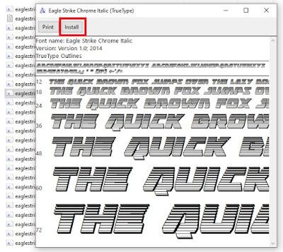 Buka salah satu file font nya, dan klik Instal untuk memasang font nya.
