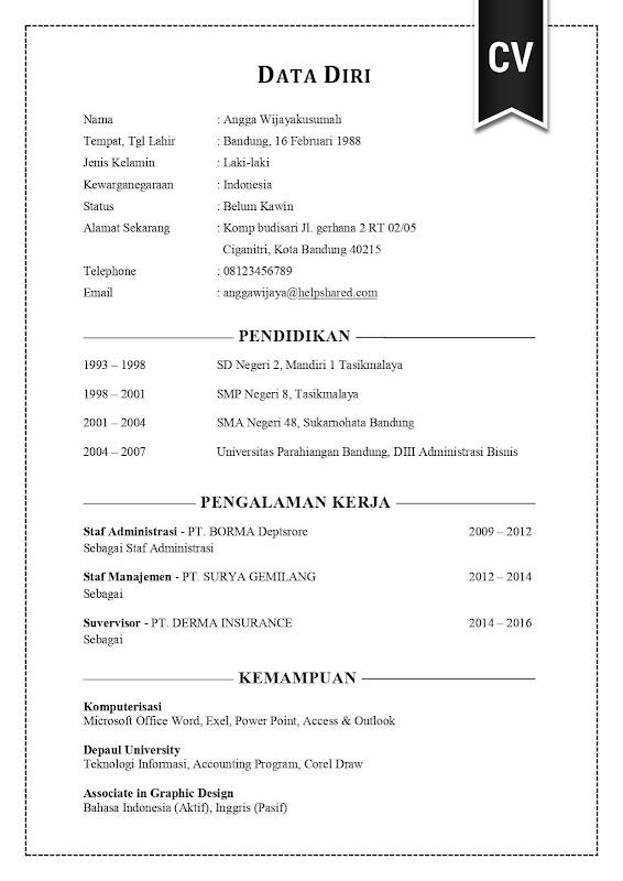 Contoh Cv Lamaran Kerja Yang Menarik Curriculum Vitae