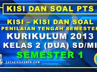 Penilaian Tengah Semester (PTS) Kelas 2 Semester 1 Tahun Pelajaran 2020 - 2021