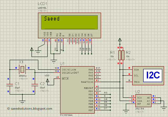 Interfacing of PIC16F628A with (i2c based) 24LC64 EEPROM