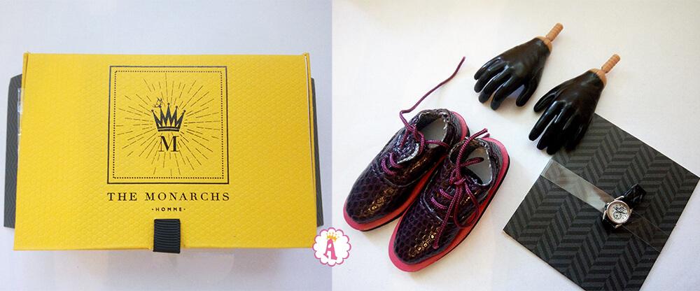 Обувь, часы и перчатки куклы Monarchs Homme Checks and Balances