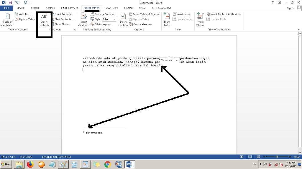 Cara Yang Benar Membuat Footnote/Catatan Kaki disemua Tipe MS Word