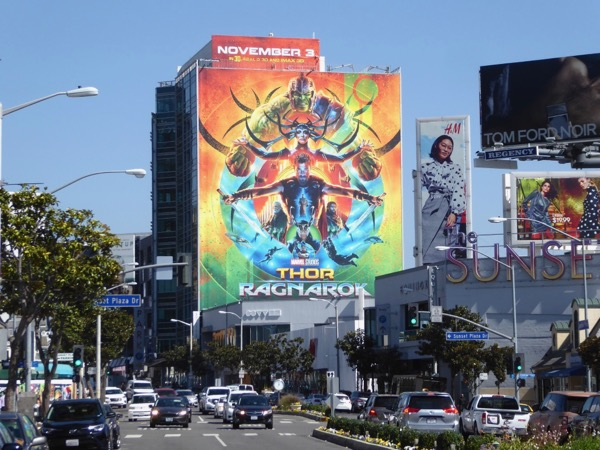 Thor Ragnarok film billboard Sunset Strip