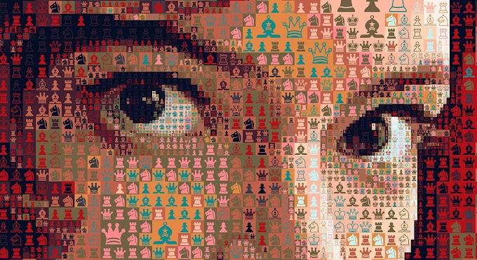 Gambito de Dama: Una serie de retratos en mosaico de Beth Harmon, creados por el artista Charis Tsevis