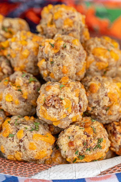 close up of sausage balls