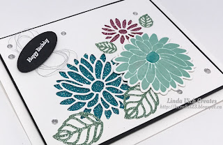 Linda Vich Creates: Glimmery Goodness From Sale-A-Bration. Stylish Stems combines with the Sale-A-Bration freebie Glimmer Paper in this floral birthday card.