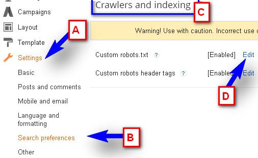 Crawlers And Indexing Setting In Blogger