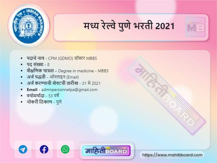 Central Railway Pune Bharti 2021