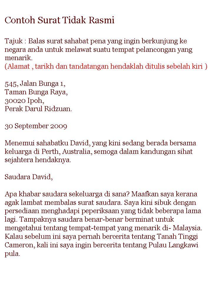 Contoh Surat Formal Bahasa Melayu