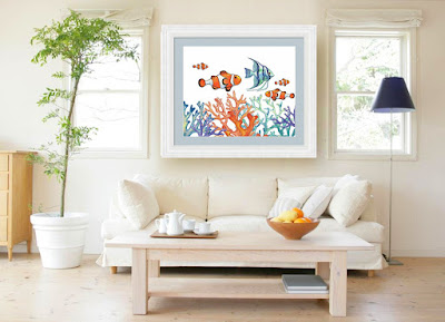 Watercolor Angelfish Clownfish Corals in Interior Decor