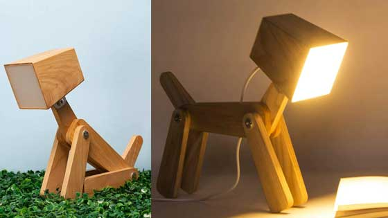 Children Lamp, Table decor and Fantasy Lamps for your Home Office Wooden Dog Shaped lamp, for Computer and nightstand, for Bedroom and Office, Ideal for Children Study Lamp
