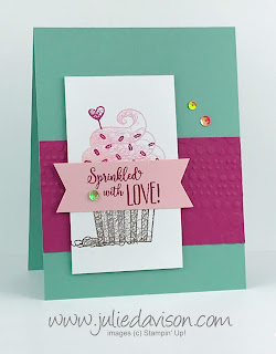 Stampin' Up! Hello Cupcake Sprinkled with Love Card ~ 2019 Sale-a-Bration ~ www.juliedavison.com