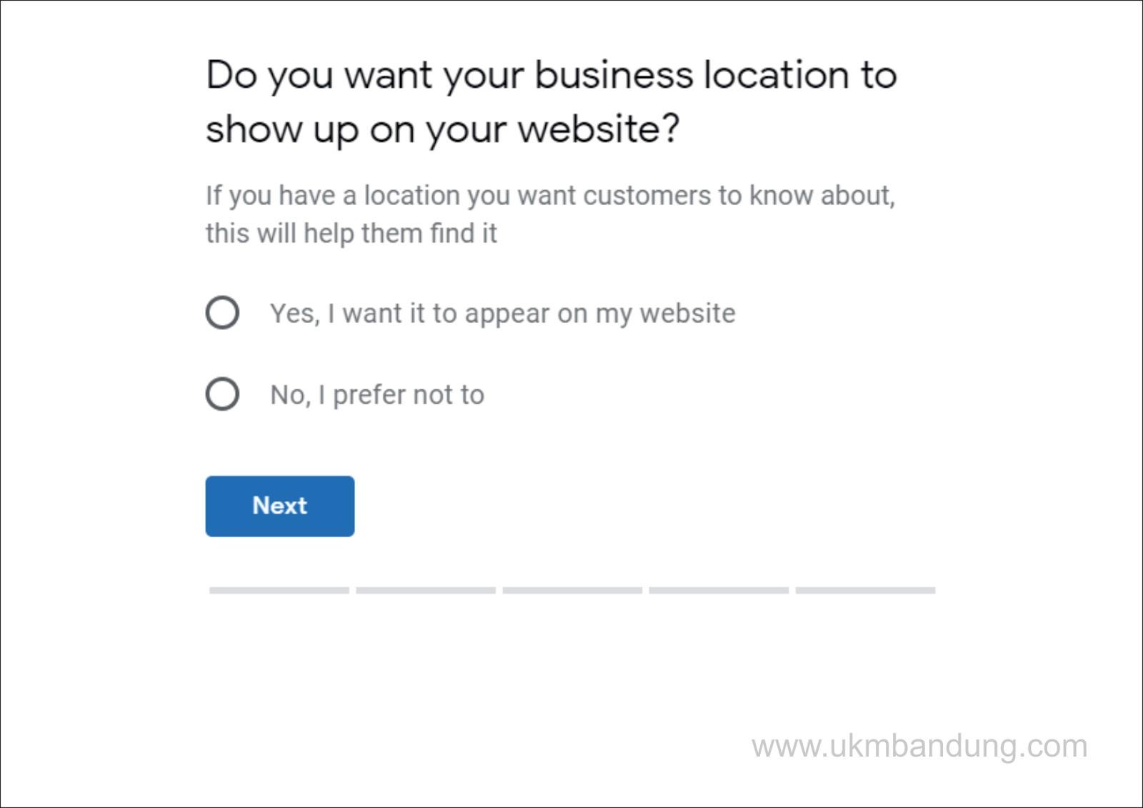 Apakah lokasi bisnisnya diperlihatkan di dalam situs bisnis