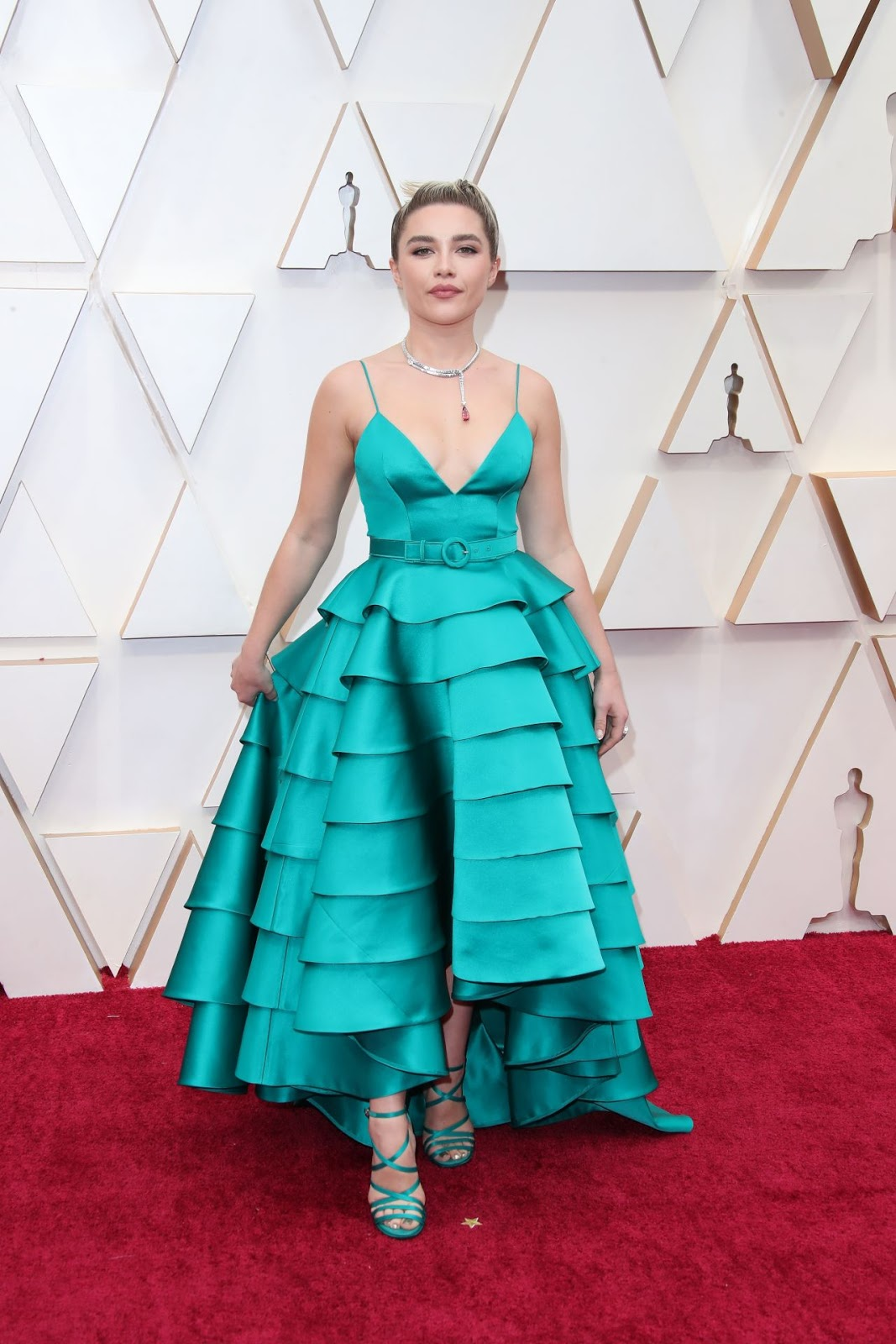 Florence Pugh arrives in tiered teal Louis Vuitton gown to the 2020 Oscars in Hollywood