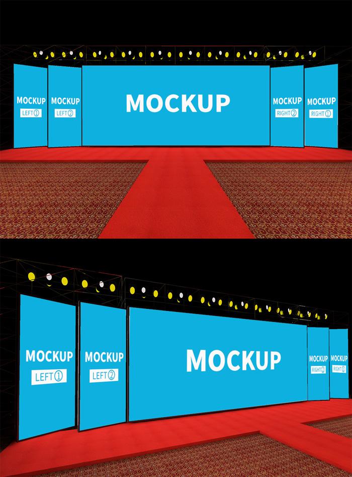 Original Scene Stage Red Carpet Background Mockup