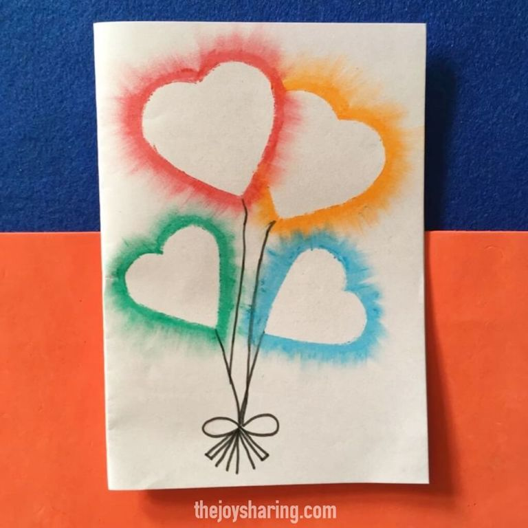 Easy heart balloon card for Valentine's day
