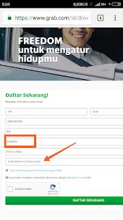 Formulir pendaftaran grab